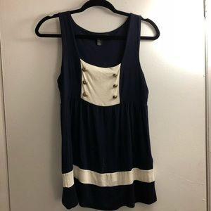 Navy and Cream tank with gold buttons
